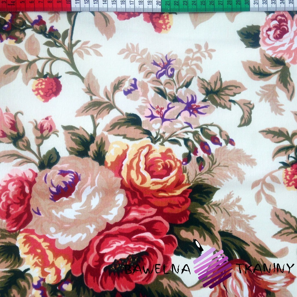 Bawełna róże angielskie Canvas
