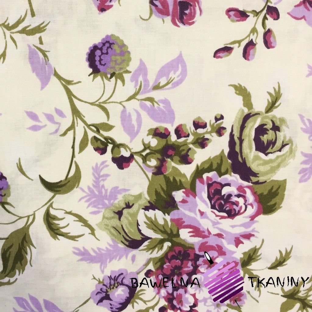 Bawełna kwiaty róże cygańskie fioletowe
