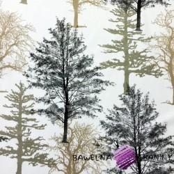 Cotton brown & black trees on white background