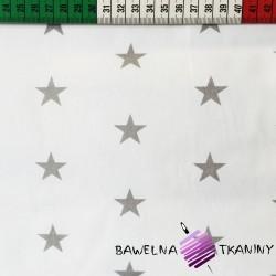 Bawełna Gwiazdki 20mm szare na białym tle