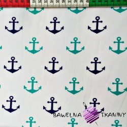 Cotton navy blue & turquoise anchor on white background