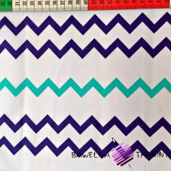 Cotton navy blue & turquoise zigzag on white background