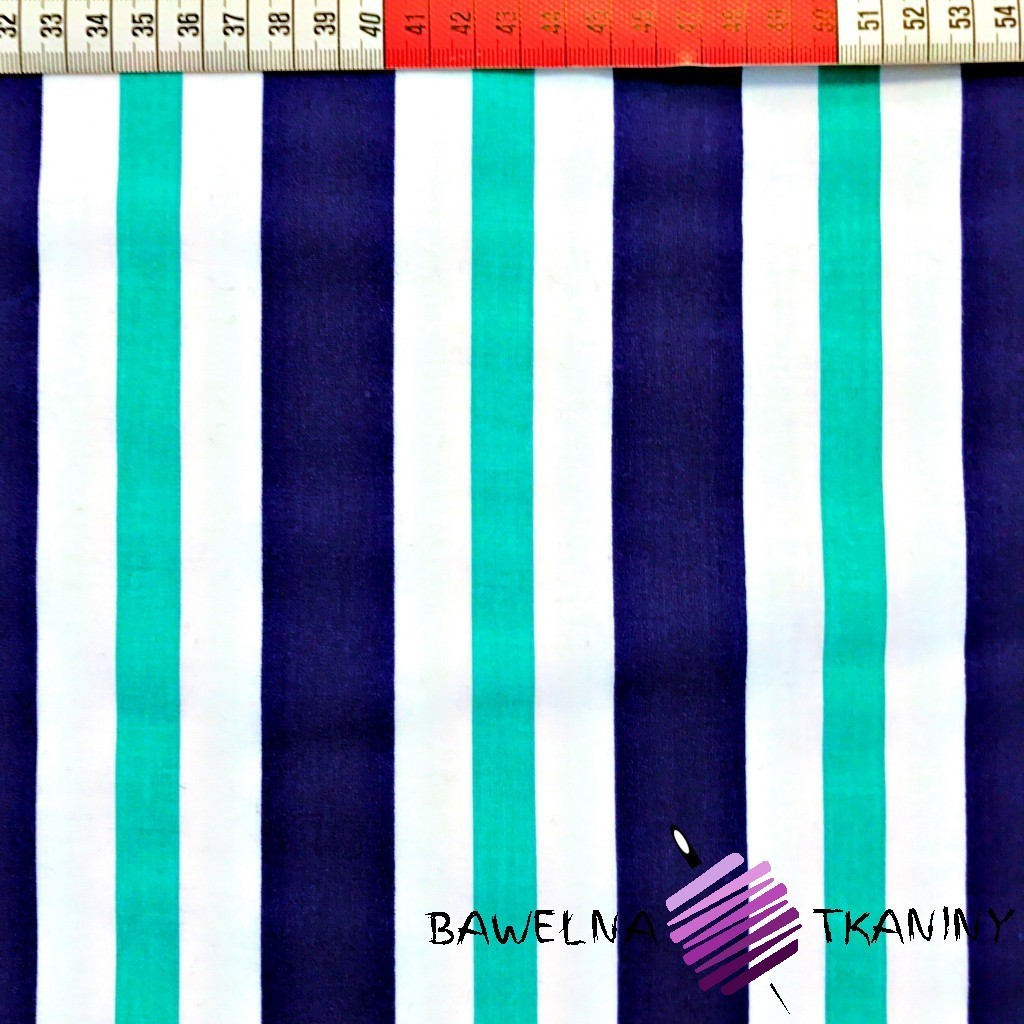 Cotton navy blue & turquoise stripes on white background