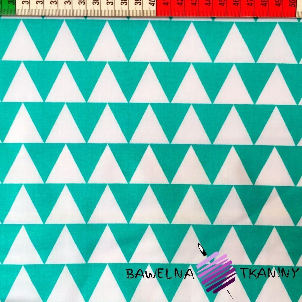 Bawełna Trójkąty biało turkusowe