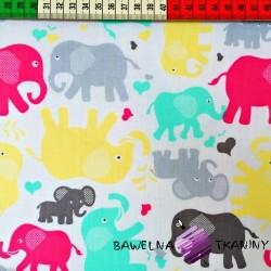 Bawełna słonie szaro różowe