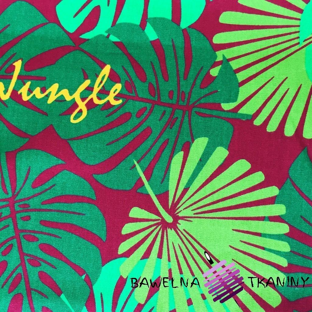 Tkanina leżakowa liście zielone na bordowym tle