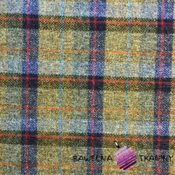 Wool olive & navy blue chequered pattern