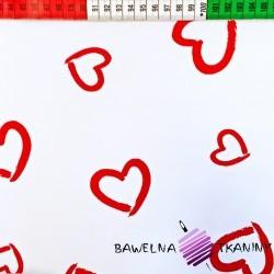 Bawełna serca kontury czerwone na białym tle