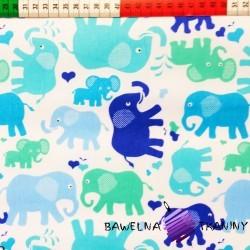 Cotton blue & green elephants on white background