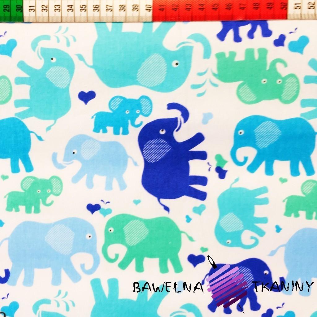 Bawełna Słonie niebieskie i zielone na białym tle