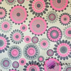 wodoodporna tkanina kwiatki w kołach różowe