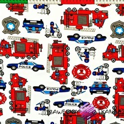 Cotton police and fire brigade on white background