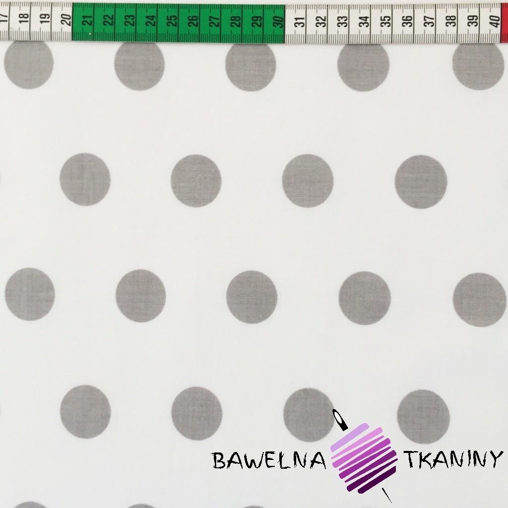 Bawełna grochy duże szare na białym tle