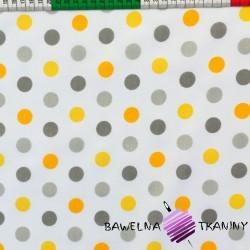Cotton gray & orange spots on white background