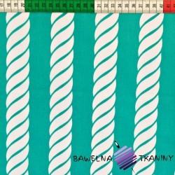 Bawełna Liny białe na turkusowym tle