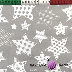 Bawełna Gwiazdki wzorzyste na szarym tle