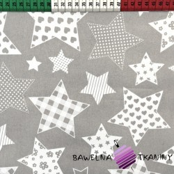 Cotton patterned Stars on gray background