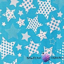 Bawełna Gwiazdki wzorzyste na niebieskim tle