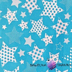 Cotton patterned Stars on blue background