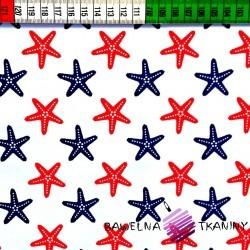 Bawełna Rozgwiazdy czerwono granatowe na białym tle
