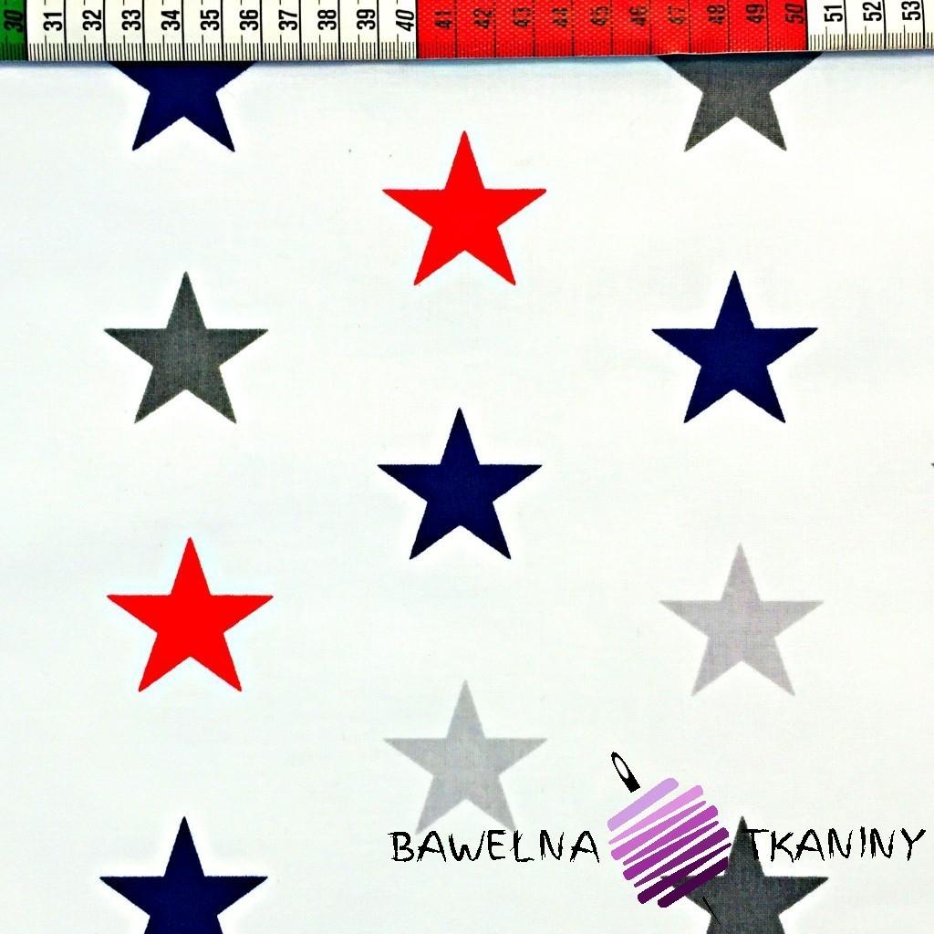 Bawełna gwiazdki STARSY szaro granatowo czerwone na białym tle