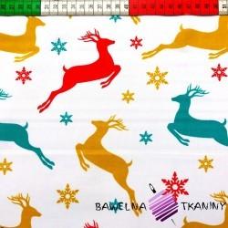 Bawełna wzór świąteczne kolorowe renifery