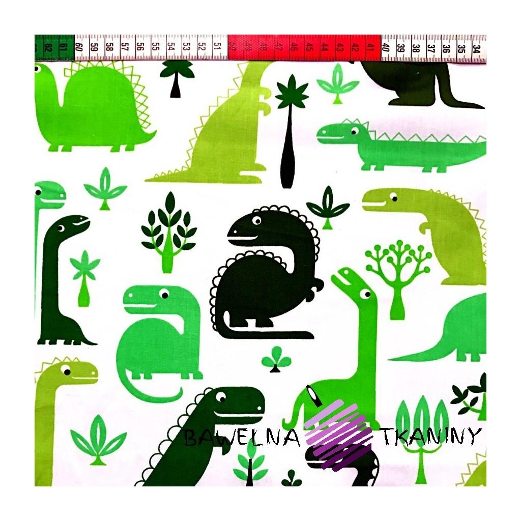 Bawełna dinozaury zielone