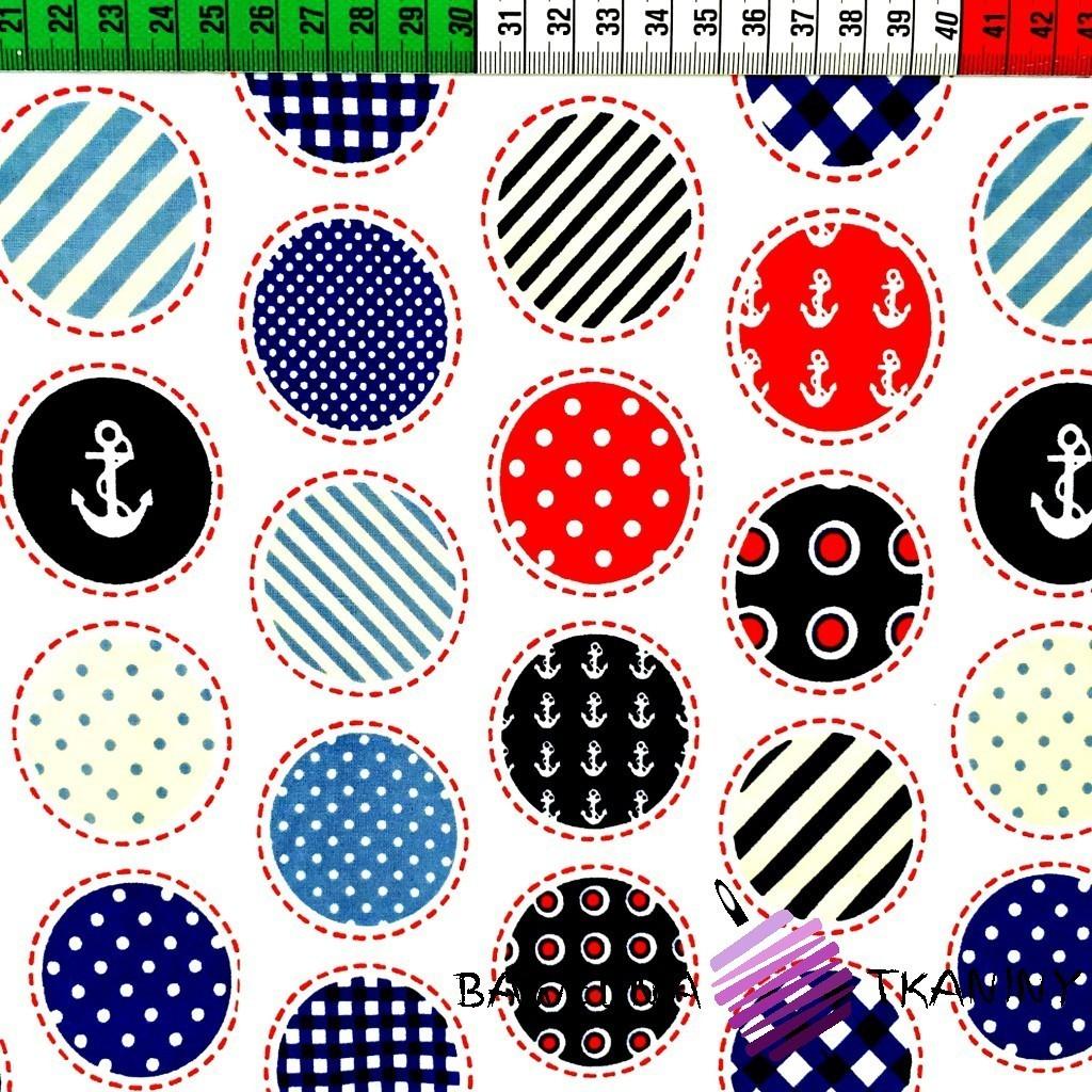Bawełna patchwork okrągły na białym tle