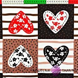 Bawełna patchwork serca brązowe