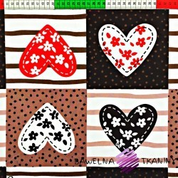 Cotton brown hearts patchwork