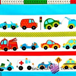 Cotton cars with blue & red stripes on white background
