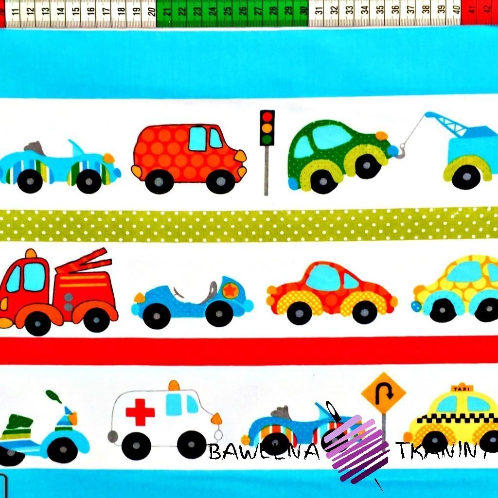 Bawełna Samochodziki w pasach na białym tle