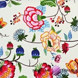Bawełna pnącza kolorowe na ecrue tle