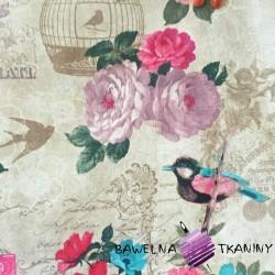 Bawełna kwiaty z ptakami na vintage tle