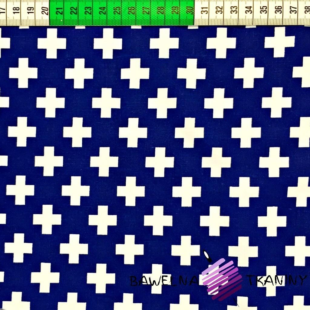 Bawełna krzyżyki białe na granatowym tle