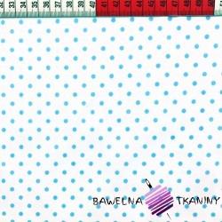 Bawełna kropki niebieskie na białym tle