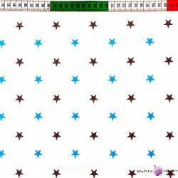 Bawełna gwiazdki niebiesko szare na białym tle