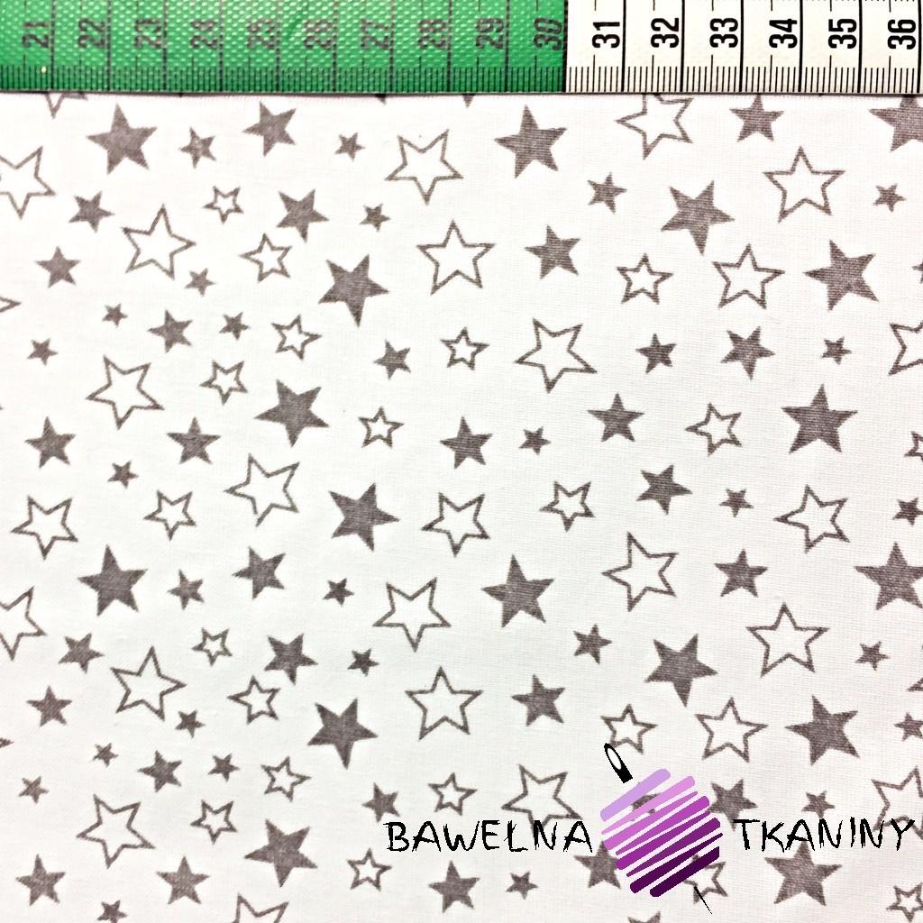 Bawełna małe szare gwiazdki na białym tle
