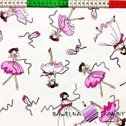 Bawełna Baletnice różowe na białym tle