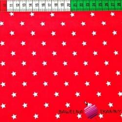 Bawełna gwiazdki 8mm białe na czerwonym tle