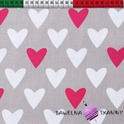 Bawełna biało różowe serca na szarym tle