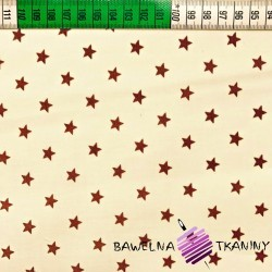 Bawełna Gwiazdki 8mm brązowe na waniliowym tle
