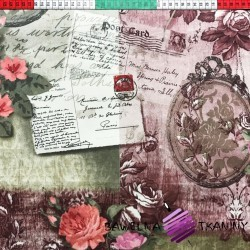 Bawełna list i kwiaty na vitage tle
