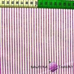 Bawełna Paseczki fioletowe na białym tle