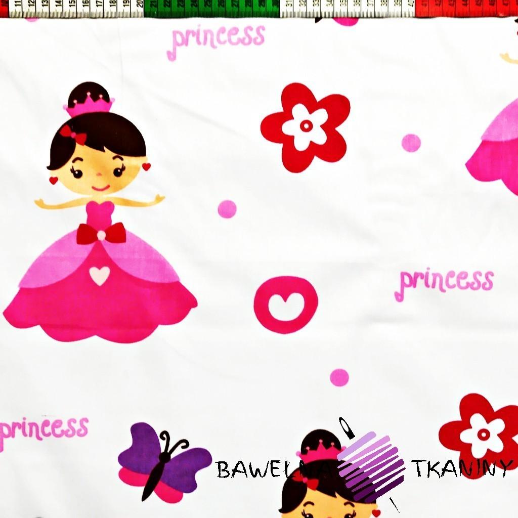 Bawełna różowa princess na białym tle