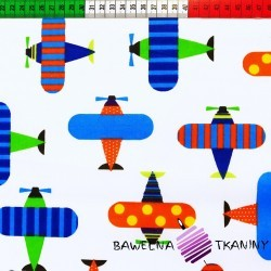 Bawełna kolorowe samoloty na białym tle