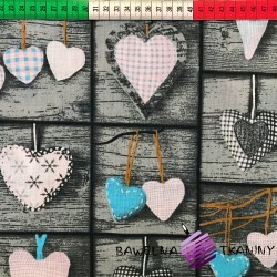 Cotton turquoise hearts in square on board background