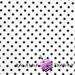 Bawełna Kropki czarne białe tło