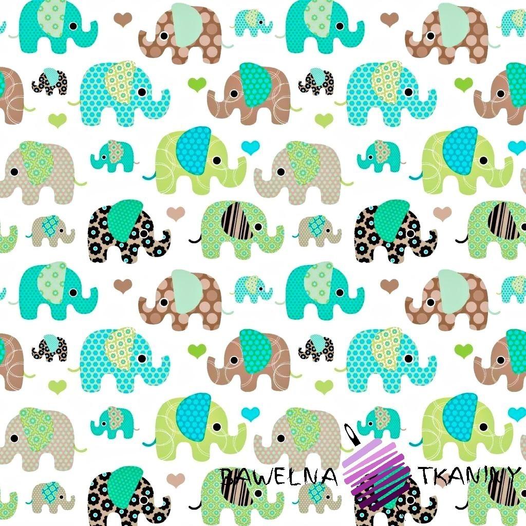 Bawełna Słonie indyjskie zielono brązowe na białym tle