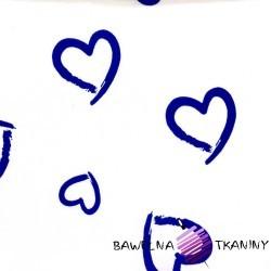 Bawełna serca kontury niebieskie na białym tle
